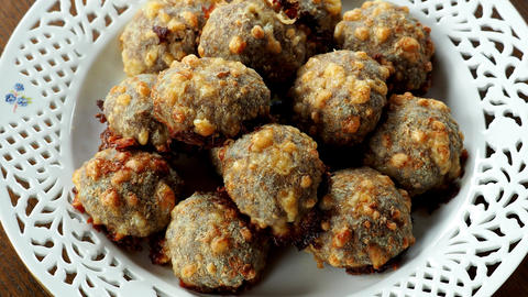 Homemade food, meat balls with cheese Live Action