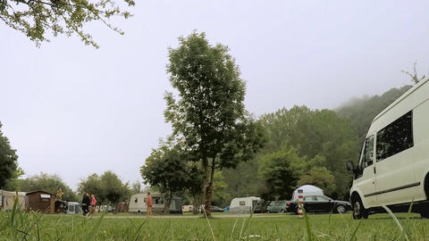 Big Tree In The Middle Of A Camping Site Footage