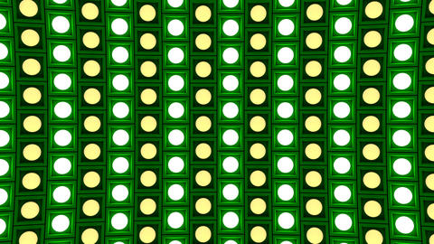 Lights flashing wall bulbs pattern rotation down green stage background vj loop Animation