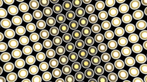 Lights flashing wall bulbs pattern horizontal rotation stage white background vj Animation