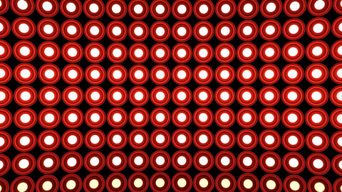 Lights flashing wall round bulbs pattern static horizontal red stage background Animation