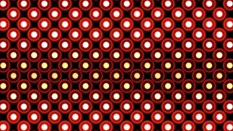 Lights flashing wall bulbs round pattern static flash up stage red background vj Animation