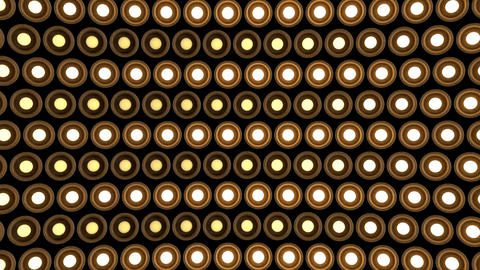 Lights flashing wall round bulbs pattern rotation stage wood background vj loop Animation