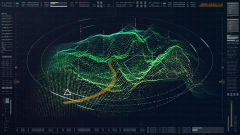 Futuristic Military HUD Holographic Terrain ConceptFuturistic military concept Animation