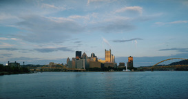 Pittsburgh Skyline and The Point Establishing Shot at Dusk Footage