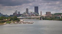 Pittsburgh Skyline Establishing Shot from Hot Metal Bridge Footage