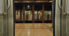 Subway Train Doors Opening Footage