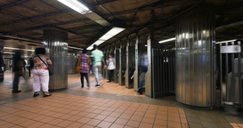Busy New York City Subway Station Turnstiles Time Lapse Footage