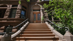 Typical New York Style Brownstone Establishing Shot Footage