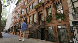 Typical New York Brownstone Buildings Establishing Shot Footage