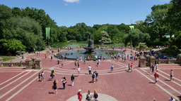 Tourists Visit Bethesda Fountain in Central Park Footage