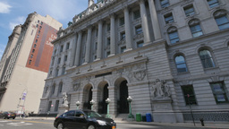 Day EStablishing Shot of Manhattan Court House City Hall Library Footage