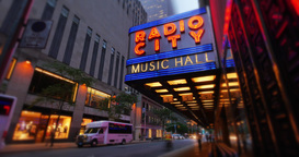 Radio City Music Hall Night Timelapse Establishing Shot Footage