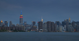Night Establishing Shot of Manhattan Skyline Footage