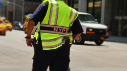 NYPD Officer Directs Traffic in Manhattan Footage