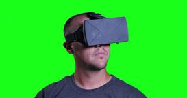 Green Screen Man in VR Helmet Footage