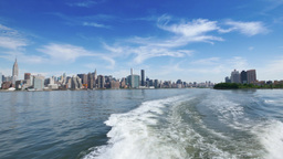 Rear View Manhattan Skyline from the East River Footage