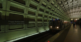 Foggy Bottom Metro Station Train Approaches Platform Footage