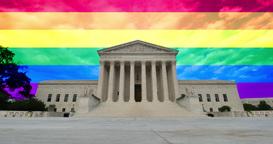 Gay Pride Flag Behind U.S. Supreme Court Footage