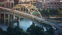 Fort Duquesne Bridge Morning Establishing Shot Footage