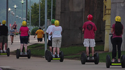 People on Segways Tour Pittsburgh North Shore Footage