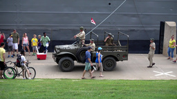 Old Jeep Passes LST-325 Docked on Pittsburgh North Shore Footage