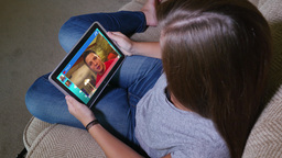 Teen Girl Video Chats on Tablet PC Footage