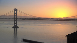 San Francisco Bay Bridge Morning Sunrise Footage