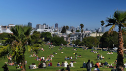 San Francisco Skyline Establishing Shot from Mission Dolores Park Footage