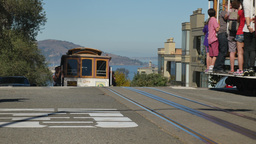 San Francisco Cable Cars Pass Each Other Near Lombard Street Footage