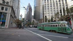 San Francisco Street Car on Market Street Footage