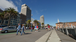 People Walk on The Embarcadero in San Francisco Footage