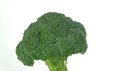 Rotating broccoli isolated on white background Footage