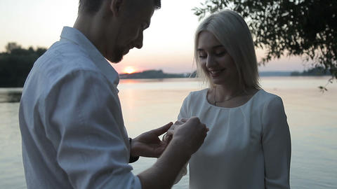 The guy makes an offer to the girl Footage