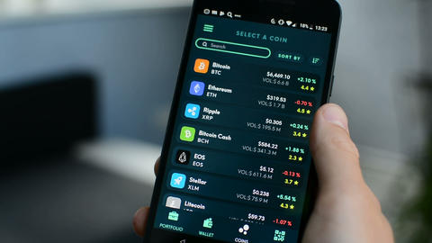 Very long list of cryptocurrencies, Bitcoin, altcoins in Ethos universal wallet 영상물