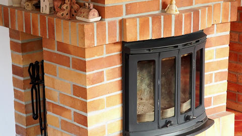 Fireplace, detail of home interior. Fireplace covered with fireclay bricks 영상물
