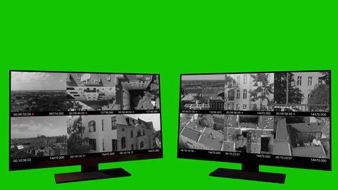 Security Monitor Surveillance on a Green Screen Footage