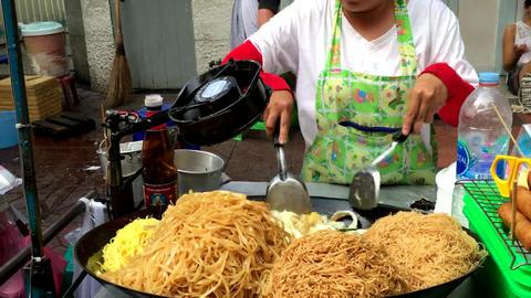 Pad thai pasta thai cooking asian Footage