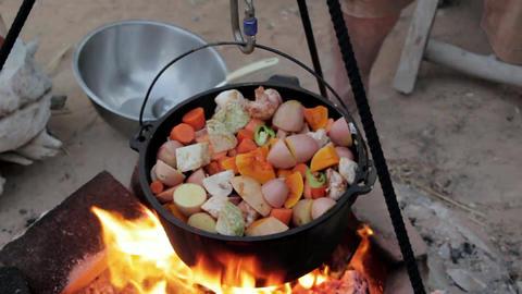 Kettle poyke cooking fireplace Footage