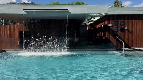 Waterfall fountain architecture Footage