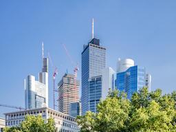 The skyline of Frankfurt city seen from Opernplatz, Germany フォト