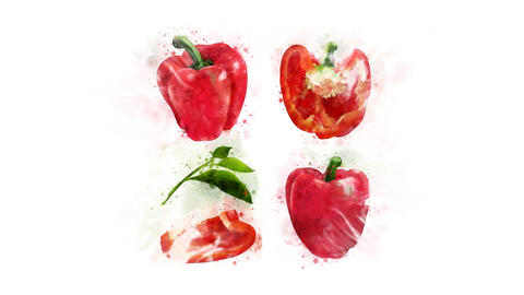 Red bell pepper whole and in a cut Animation