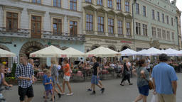 Krakow, Poland. The old town and strolling tourists Live Action