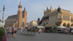 Krakow, Poland. Old town, horse cab and strolling tourists Live Action