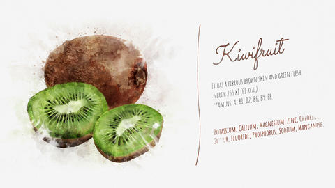 Kiwi card with ingredients and useful elements Footage
