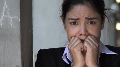C0020 hispanic woman and fear Stock Video Footage
