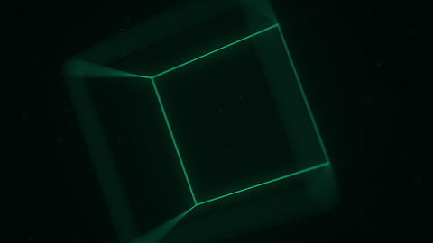 Rotating green cube. 3D graphics related motion background GIF