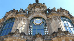 Dresden, Germany. Clock in Zwinger palace - famous historic building Live Action