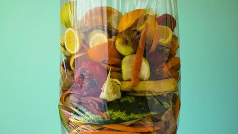 Food waste. Compostable food scraps Footage