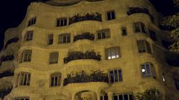 Europe Spain Catalonia Barcelona grotesque facade of house Casa Mila Footage